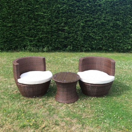 "The Deluxe Marco Phillippe ""Cappuccino"" Rattan Garden Bistro Set"